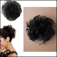 Hair Bun Messy Fake Scrunchies Elastic Wig Bobble Band Wavy BLACK Women Updo