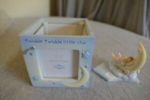 """NEW Pink & Blue Twinkle Little Star 3"""" x 3"""" Photo 4 Picture Nursery Baby Frame"""