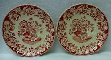 """ROYAL DOULTON china POMEROY RED pattern Set of Two (2) Saucers - 6-5/8"""""""