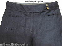 New Womens Marks & Spencer Per Una Blue Linen Wide Leg Trousers Size 14 12 10 8