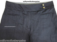 "Womens Marks and Spencer Blue Linen Wide Leg Trousers Size 18 16 14 12 10 8 14 Short 33"" 28l"
