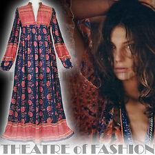 Abito Vintage Indiano Adini garza 70s 6 8 10 12 14 16 Hippy Boho Da Matrimonio POETA