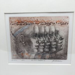 JIRI ANDERLE (CZECH) 5X GIRL VAR. WITH DRAWING 7/7 ETCHING PRINT FRAMED