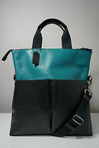 Coach Charles Perforated Leather Seagreen/Black Foldover Tote F57569