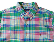 Men's RALPH LAUREN Pink Colors Plaid Oxford Style Shirt XL X-Large NWT NEW Cool!