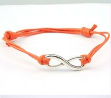 Antique Silver INFINITY Colored Cotton Waxed Cord Friendship Love Wish Bracelet