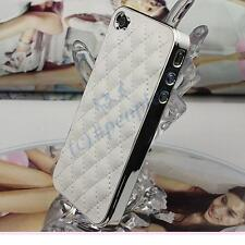 Best Xmas Gift New White Deluxe Luxury Leather Chrome Case Cover for iPhone 4S 4