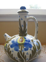 """Vintage Art Pottery Hand Painted Wine Jug With Lid, 10 3/4"""" Tall & 8"""" W"""