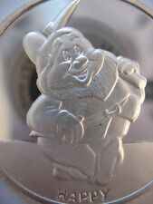 1 OZ .999 SILVER HAPPY SNOW WHITE & 7 DWARFS  50TH ANNIV DISNEY COIN  + GOLD