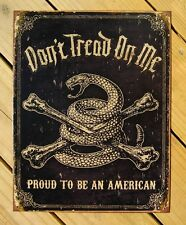 Don't Tread On Me Snake Crossbones TIN SIGN metal poster decor bar garage 1692