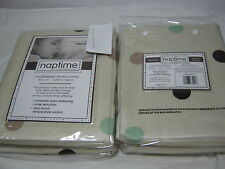 Naptime Blackout Ivory Window Panels 2(50x63) Green Chocolate Brown Dots NIP
