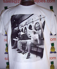 White Trash Naked Girl in  Laundrette T-Shirt White Size S