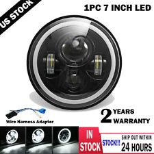 "7"" inch LED Headlight Angel Eyes Motorcycle Headlamp for Wrangler JK LJ TJ CJ"