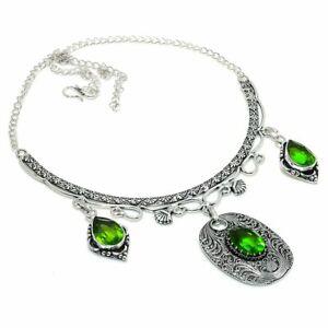 "Peridot Gemstone Handmade 925 Sterling Silver Jewelry Necklace 18"" I492"