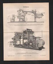 Lithografien 1889: Schnellpresse. Presse Rotations-Buchdruckmaschine Falzapparat
