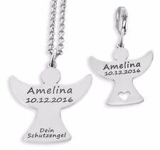 Schutzengel Kette mit Charm, Schmuck mit Gravur, 925 Silber, Geschenk Set Taufe