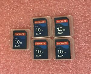 Lot of 5 SanDisk 1GB SD Flash Memory Card SD