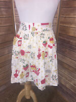 Vintage Cloth Kitchen Apron Waist Tie White Fruits Vegetables Pockets Gathered