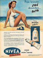 PUBLICITE ADVERTISING 025  1958  NIVEA SOLAIRE  creme