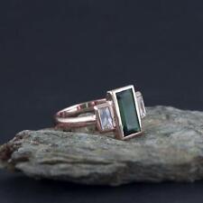 1.30CT Baguette Emerald & Diamond Art Deco Vintage Ring 14k Rose Gold Finish