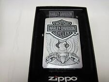 Zippo Lighter 200HD.H284 Harley Davidson Logo Emblem Brushed Chrome Windproof