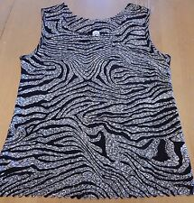 Unbranded Women's Black + White Sleeveless Shirt Size M