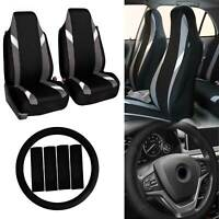 Front Bucket Highback Seat Covers Pair For Auto w/ Accessories Gray Black