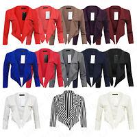 Womens Celebs 3/4 Sleeve Ladies Crop Top Waterfall Short Blazer Jacket Cardigan
