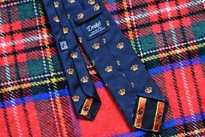 Lovely Drake's Crown Motif Pattern Navy Blue Silk Tie Untipped Made in England