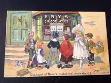 "FRY'S CHOCOLATE & COCOA  ANTIQUE LITHO ADVERTISING POSTCARD ""SHOP WINDOW""  c1905"