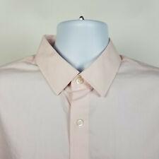 Banana Republic Slim Fit Non Iron Light Pink Check Mens Dress Button Shirt Large