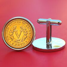 """US 1903 Liberty """"V"""" 24k Gold Plated Racketeer Nickel Coins Silver Cufflinks NEW"""