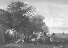COWS HORSES SHEEP CHILDREN KIDS PLAY in Farm Yard ~ Old 1856 Art Print Engraving
