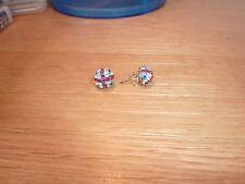 Union Jack con elemento de cristal de Swarovski Stud Pendientes de Plata 925 en Caja De Regalo
