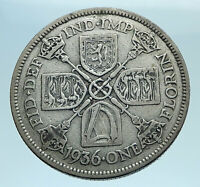 1936 United Kingdom Great Britain GEORGE V Silver Florin 2 Shillings Coin i77697