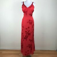Vintage Alyce Designs Dress Size 16 Red Chiffon Floral Prom Dance Gown Womens