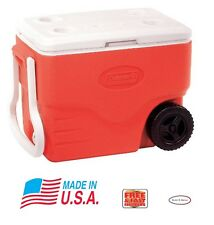 f979850bcf4 Coleman 40 Quart Performance Rolling RED Cooler Roller Wheel Tow Handle USA  MADE