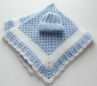 Soft Cuddly Baby Blue New Crocheted Boy Baby Blanket & Hat  EZ Care Washable