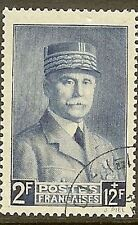 "FRANCE TIMBRE STAMP 568 "" MARECHAL PETAIN BLEU 1F+10F "" OBLITERE TB"