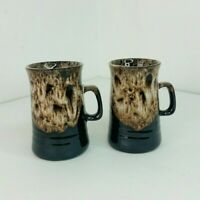 2 Mugs / Cups Fosters Studio Pottery Brown Drip Glaze Mid Century 1970's Coffee
