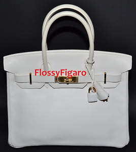 HERMES BIRKIN 30CM WHITE SWIFT WITH GOLD HARDWARE - PRE-OWNED AUTHENTIC RARE