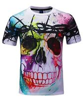 Skull in Barbed Wire colourful T-Shirt (music festival graffiti skull t shirt)