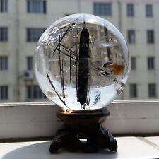 "2.63"" NATURAL ""Black Tourmaline"" quartz crystal sphere ball healing/Stand"