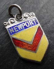 vintage SILVER enamel NEWPORT travel tourist charm 1950s / 60s -D480