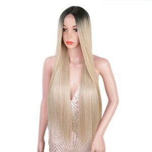 Women Hair Wig Synthetic Long Straight Middle Part Lace Heat Resistant Ombre