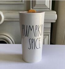 Rae Dunn PUMPKIN SPICE Tall Travel Coffee Cup Mug Tumbler Fall New