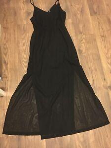 Black H & M Long Dress Size 12 Goth Emo