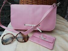 Vtg Original 90s Genuine Leather Pink White Purse & Clutch Shoulder Bag. Nr Mint
