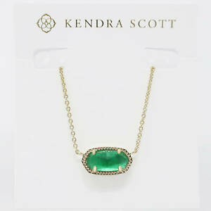 Kendra Scott Elisa Oval Necklace in Jade Green Illusion and Gold