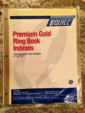 Quill Clear Tab Index Dividers, Gold Edge, 8 Tabs & 5 Tabs - 8.5x11""